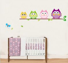 - Four Little Owls Butterfly Baby Nursery Home Decal Wall Sticker Vinyl Decor & Garden Kids Room Wall Stickers, Wall Decor Stickers, Vinyl Wall Decals, Sticker Vinyl, Butterfly Baby, Butterfly Tree, Ideas Prácticas, Nursery Decals, Vinyl Decor