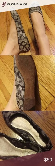 Coach Flats Comfy and great for the office. Leather bottoms. Worn twice. The fabric is a bit shimmery, all shades of gray/silver represented. Almost taupe in color. Coach Shoes Flats & Loafers
