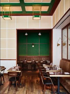 This image may contain Furniture Chair Restaurant Cafeteria Wood and Cafe Coffee Shop Interior Design, Italian Interior Design, Bar Interior, Bar Restaurant Design, Luxury Restaurant, Restaurant New York, Architectural Digest, Ken Fulk, Architecture Restaurant