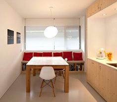 Fantastic Red Decoration Home Interior: Sleek Modern Kitchen Design Red Pillows Decorate With Shades Of Red