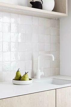 The handmade white Zellige tiles add texture to a mostly white scheme. Interior, White Hexagon Tiles, Modern Bedroom Design, Interior Design Kitchen, Backsplash, Herringbone Tile, Splashback Tiles, Bathrooms Remodel, Interior Design Awards
