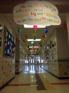 "seuss hallway ""oh the places you'll go"" dr seuss graduation 5th Grade Graduation, Graduation Theme, Kindergarten Graduation, Graduation Ideas, School Themes, Classroom Themes, School Fun, Classroom Door, School Ideas"