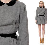 Peter Pan Collar Dress 1960s WOOL Mini Mod VELVET by ShopExile, $84.00