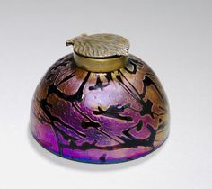 Inkwell, c. 1900 attributed to Wilhelm Kralik Sohn (Bohemian) glass with bronze mount, Overall - h:7.00 w:12.40 cm (h:2 3/4 w:4 7/8 inches).