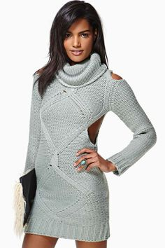 •Grey cable turtle neck cut away dress• RA