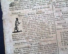 Historic Newspaper with front page illustrated female slave ad:  CHARLESTON COURIER, Charleston, South Carolina October 21, 1820.
