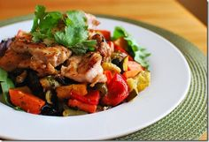 Black pepper chicken with roasted vegetables
