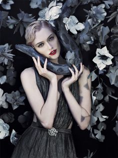 Shien Cosmetics. blonde girl with snake