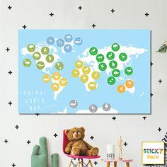 Χάρτης για Παιδικό Δωμάτιο!  Αυτοκόλλητος χάρτης σε μοντέρνο χρωματισμό. Έξυπνη πρόταση διακόσμησης. Wall Decor, Decoration, Art, Wall Hanging Decor, Decor, Art Background, Kunst, Decorations, Performing Arts