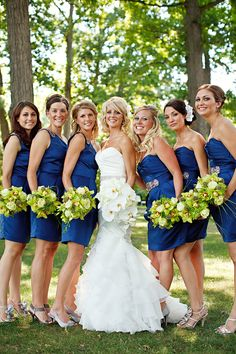 Royal blue  with fewer green orchids and mixed with white lilies Royal Blue Bridesmaid Dresses, Wedding Bridesmaids, Wedding Dresses, Blue Dresses, Bridesmaid Color, Bridesmaid Ideas, Bridesmaid Flowers, Wedding Bouquet, Wedding Themes