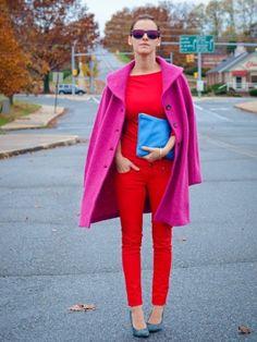 Farbkombinationen: Pink, Rot und Blau