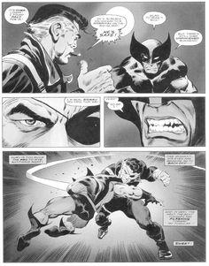 Wolverine vs Nick Fury, classic comic panel...