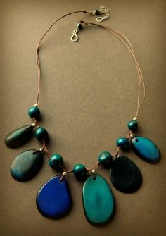 Eco-Friendly Necklace - Tagua & Acai in Shades of Amazon Blue.