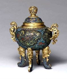 Cloisonné Enamel and Gilt-bronze Censer and Cover, Qing Dynasty, Qianlong period (1736-95)