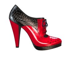 HOT RED AND BLACK CHAROL. Really sexy and edgy shoes!