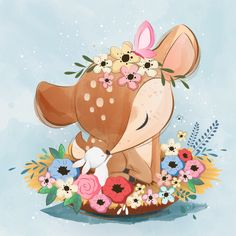 Cute deer on the nest Premium Wektorów Illustration Mignonne, Cute Illustration, Baby Animal Drawings, Cute Drawings, Cute Images, Cute Pictures, Cartoon Mignon, Baby Animals, Cute Animals