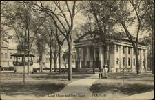 PEKIN IL Court House and Band Stand Town View c1910 Postcard