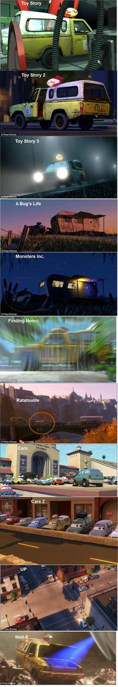 The pizza truck can be seen in all these pixar movies.