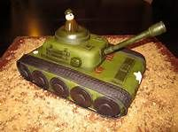 Army tank birthday cake, don't care for fondant on the whole cake, but could ice with butter cream and make track and other detail out of fondant
