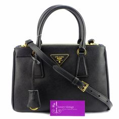 PRada Lux Black Color Saffiano Leather With Gold Hardware Good Condition Ref.code-(KTCY-3) More Information Pls Email  (- luxuryvintagekl@ gmail.com )