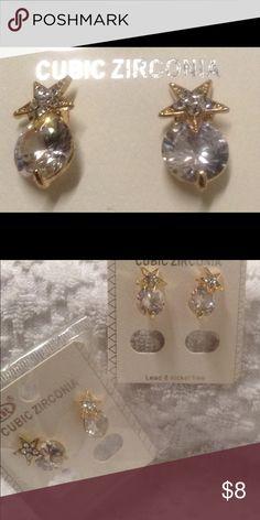 Elegant Star Faux Diamond Earrings Elegant earrings with a star design at stud, with diamond look. Glass drop style in silver & gold. 1 of ea. Left. (NWOT) Cubic Zirconia Accessories