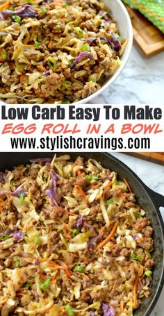 Low Carb Recipes Low-Carb Easy To Make Egg Roll In A Bowl - Sharing a new favorite egg roll in a bowl! One of the easy and tastiest meals you will ever have! Low Carb Keto, Low Carb Recipes, Diet Recipes, Cooking Recipes, Healthy Recipes, Egg Roll Recipes, Healthy Hamburger Recipes, Healthy Chinese Recipes, Low Fat Low Carb
