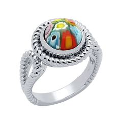 Millefiori Multicolor Nickel Free .925 Sterling Silver Rope Design Ring Available Sizes: 7 & 8 ***Free Shipping To Continental U.S.A.*** 100% Secure Credit Card Checkout We guarantee that all products