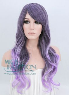 """26"""" Long Curly Mixed Purple Pastel Ombre Fashion Synthetic Hair Wig PL456 - Wig Is Fashion"""