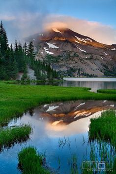 ~~Glimmer - Three Sisters Wilderness, Oregon ~ sunrise, mirror-like crystal clear mountain reflection by Adrian Klein~~