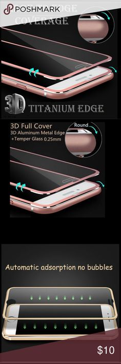 Full cover titanium rim screen protector iPhone 7+ Premium quality 3D full cover titanium edge screen protector for iPhone 7 plus, perfect fit, same color as your phone, perfect protection, brand new in retail package,ROSE GOLD APE Accessories Phone Cases
