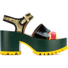 Marni 'One Band Wedge' techno fabric sandals ($870) ❤ liked on Polyvore featuring shoes, sandals, black, wedge sandals, black chunky sandals, platform wedge sandals, high heel wedge sandals and wedges shoes
