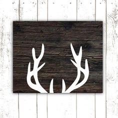 Printable Art, Rustic Deer Antler Print, Wood Sign Print for Rustic Home Decor, Rustic Style, Rustic Decor, Rustic Art, Rustic Wood, Art Adulte, Pallet Art, Deer Antlers, Sign Printing, Baby Boy Nurseries