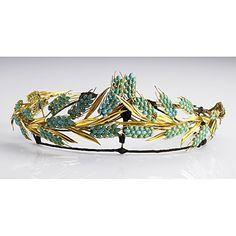 Persian turquoise wheat tiara 18K, 19th century.