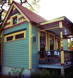 Tiny house design with a great color scheme,so cute! Bigger isn't always better. In the case of micro living spaces, quite the opposite is true. In celebration of what some designers can do with so little space. Guest House Cottage, Tiny House Living, Cozy Cottage, Cottage Homes, Tiny House Exterior, Exterior House Colors, House Exteriors, Small Cottages, Cabins And Cottages