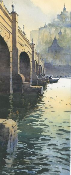 "Michael Reardon Watercolors   ·     Le Vieux Pont 25"" x 10"" 22 May 2015"