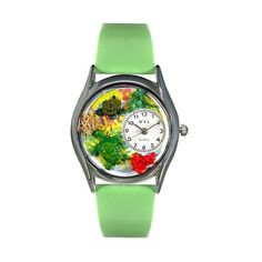 Turtles Green Leather And Silvertone Watch