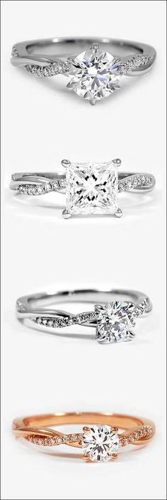 Four versions of the popular 'Eco Friendly' Petite Twisted Band Engagement Ring by Brilliant Earth. Top to bottom: 1) Six-Prong, Platinum 0.80 Carat, Round, Super Ideal, E, VS2. 2) Platinum, 1.53 Carat, Princess, Super Ideal, H, VVS1. 3) Platinum, 0.62 Carat, Round, Super Ideal, E, VVS2. 4) 14K Rose Gold, 0.42 Carat, Round, Good, G, VS2.   bridesandrings.com