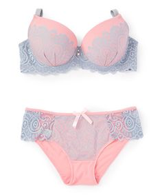 Loving this Pink & Gray Lace-Accent Push-Up Bra & Bikini - Plus Too on #zulily! #zulilyfinds