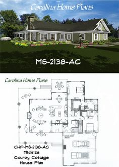 Midsize Country Cottage House Plan with open floor plan layout.