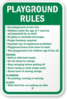 playground signs | Playground Rules Sign