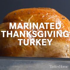 Marinated Thanksgiving Turkey Recipe My family enjoys this Thanksgiving turkey because it cooks up tender, tasty and golden brown. Build up flavor by marinating the meat, then grill it to add a tempting barbecued flavor. Thanksgiving Recipes, Fall Recipes, Holiday Recipes, Thanksgiving Sides, Christmas Desserts, Dinner Recipes, Turkey Marinade, Marinate Turkey, Turkey Brine