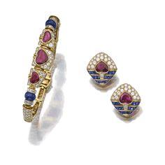 Ruby, sapphire and diamond demi-parure, Bulgari | Lot | Sotheby's