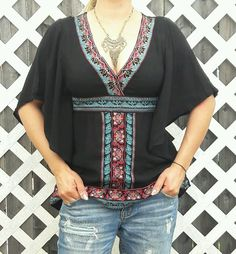 BOHEMIAN VINTAGE EMBROIDERED DOLMAN TOP BLACK BOHO CLEAVAGE HIPPIE PEASANT RAYON #XXI #Blouse #Casual