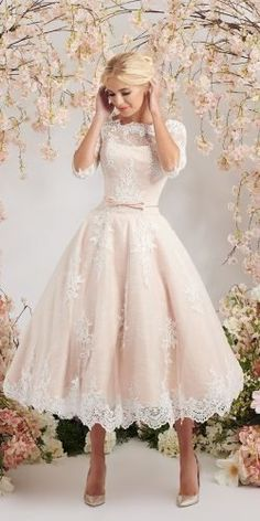 Civil Wedding Dresses, Dream Wedding Dresses, Bridal Dresses, Short Wedding Gowns, Wedding Dresses Simple Short, Rockabilly Wedding Dresses, Blush Dresses, Dresses Dresses, Girls Dresses