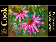 Pink Echinacea Flowers - Acrylic Painting for Beginner and Advanced Artists