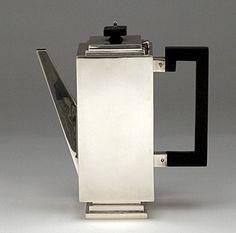 English Art Deco Sterling Silver Coffee Pot Charles Boyton, London, 1932