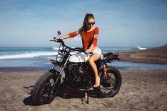 Riding a motorcycle Scrambler Motorcycle, Royal Enfield, Beach Girls, Gym Workouts, Bike, Vehicles, Fun, Cats, Bicycle