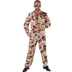 Camouflage kostuum 3-delig voor heren. Dit 3-delige kostuum met camouflage print voor heren bestaat uit een broek, jasje en stropdas. Materiaal: 100% polyester.