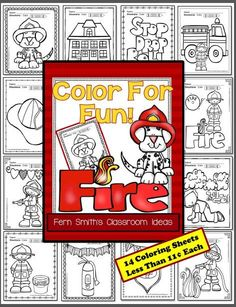 Fire Prevention and Safety Fun! Color For Fun Printable Coloring Pages {14 coloring pages equals less than 10 cents a page.} #Free Fire Station Dog Page in the Preview Download! October is Fire Prevention and Fire Safety Month, have a little fun with these inviting printable coloring sheets. Upcoming Fire Prevention Weeks starts on: October 04, 2015 .. October 09, 2016 .. October 08, 2017 #TPT $paid