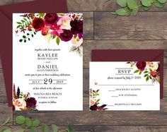Wedding Invitation Suite, Wedding Invitations, Burgundy Wedding Invitation, Burgundy and Blush 075
